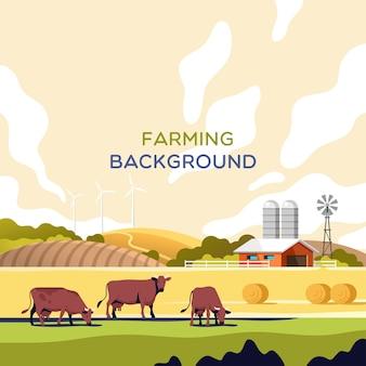 Rolnictwo przemysł koncepcja rolnictwa i hodowli zwierząt letni krajobraz wiejski z polami krów i gospodarstwem