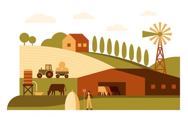 Rolnictwo, rolna kreskówka krajobrazu mieszkania ilustracja