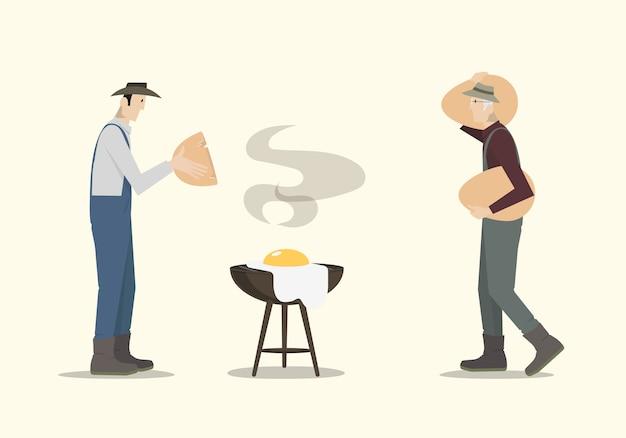 Rolnicy gotuje dużego jajko na grillu.