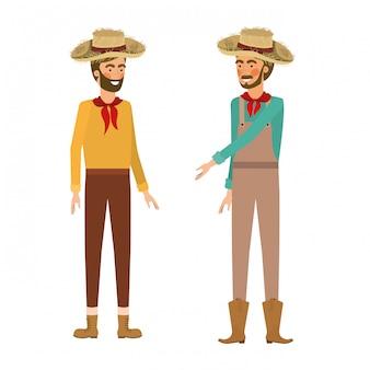 Rolnicy mężczyźni rozmawiają ze słomkowym kapeluszem