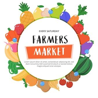 Rolnicy na rynku tło z owoców i warzyw i ręcznie rysowane napis