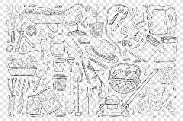 Rolnicy narzędzia do ogrodnictwa doodle zestaw ilustracji