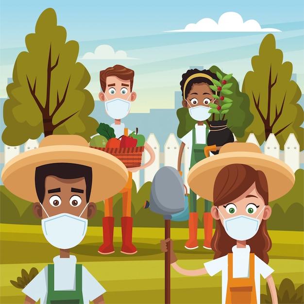 Rolnicy noszący maski medyczne sceny