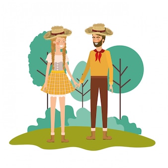 Rolnicy para rozmawia ze słomkowym kapeluszem w krajobrazie