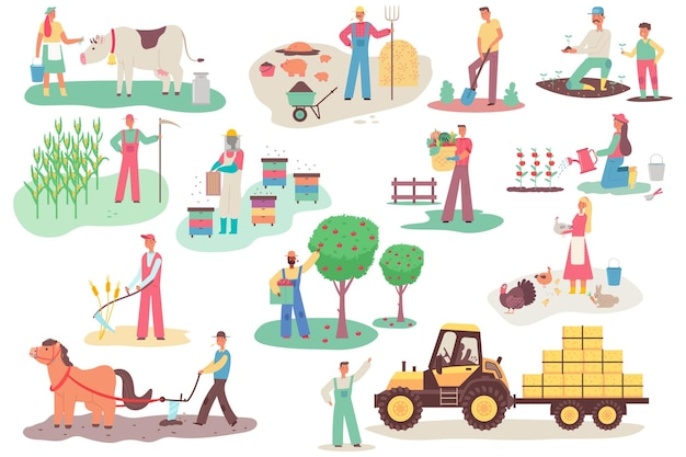 Rolnicy pracujący w gospodarstwie. mężczyzn i kobiet wektor kreskówka płaskie postaci ustawione w różnych działaniach na białym tle. ilustracja rolnictwa.