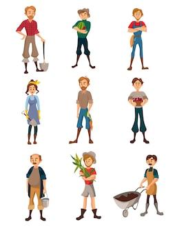 Rolnicy przy praca setem, ogrodnicy z różnymi rolniczymi narzędziami, rolnik zbiera uprawy, rolnictwo uprawia ziemię pojęcie kreskówki ilustrację