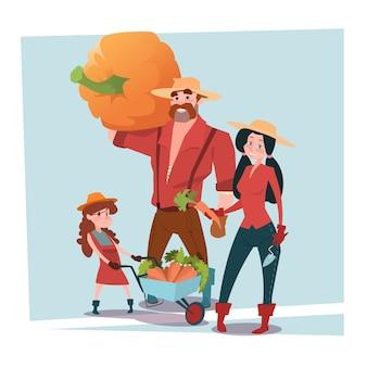 Rolnicy rodzice i córka zbierają żniwa