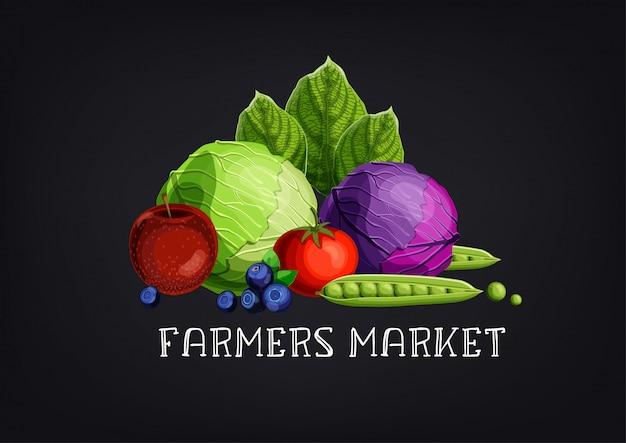Rolnicy sprzedają tekst z kolorowymi owocami i warzywami