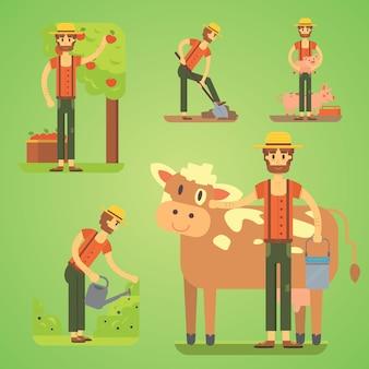 Rolnicy używający narzędzi rolniczych. zestaw ilustracji rolnika