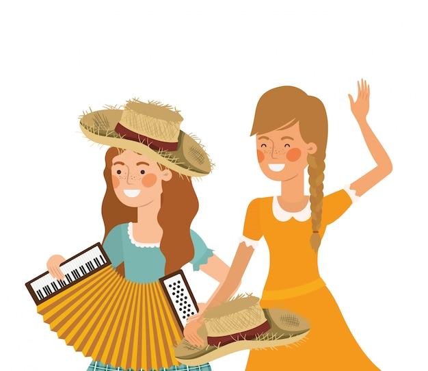 Rolnicy z instrumentami muzycznymi