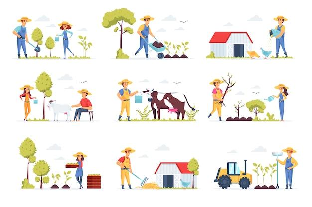Rolnicy Zbierają Postacie Ludzi Premium Wektorów