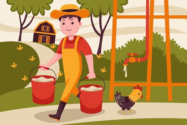Rolnik człowiek podnieść wodę w pojemniku.