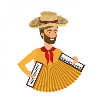 Rolnik człowiek z instrumentem muzycznym