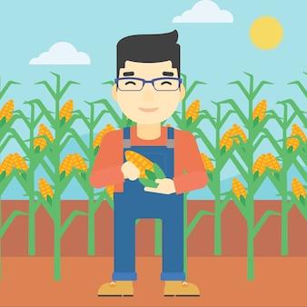 Rolnik gospodarstwa kukurydzy