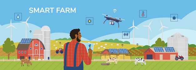 Rolnik gospodarstwa tablet zarządzanie gospodarstwem z aplikacją mobilną