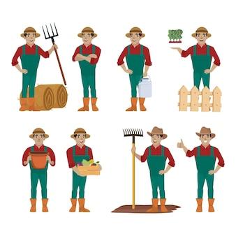 Rolnik i ogrodnik w różnych pozach