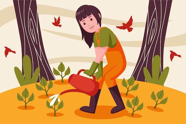 Rolnik kobieta podlewanie roślin w ogrodzie.