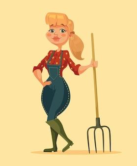 Rolnik kobieta trzyma widły. szczęśliwa dziewczyna gospodarstwa. ilustracja kreskówka płaski wektor