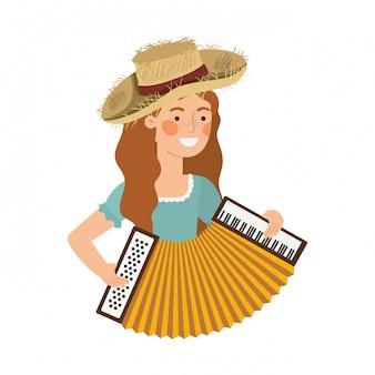 Rolnik kobieta z instrumentem muzycznym