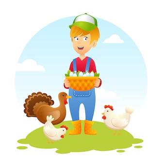 Rolnik kobieta z kurczakiem