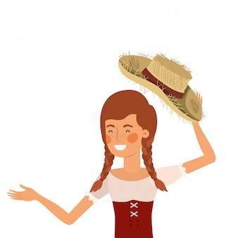 Rolnik kobieta ze słomianym kapeluszem