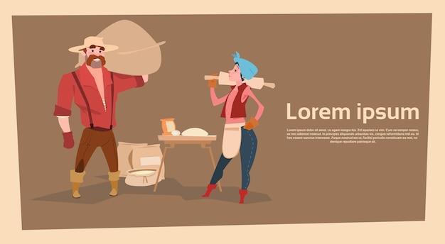 Rolnik kraj kobieta i mężczyzna pieczenia chleba