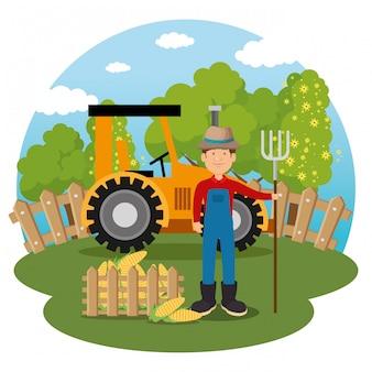 Rolnik na scenie farmy