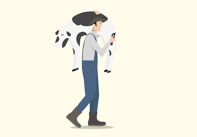 Rolnik niosący cielęcinę na łopatce