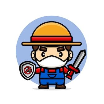 Rolnik nosi maskę na twarzy, trzymając miecz i tarczę, przygotowując się do zwalczania szkodników