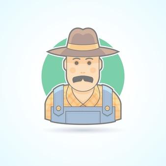 Rolnik, ogrodnik, ikona farmera. avatar i ilustracja osoby. kolorowy styl konturowy.