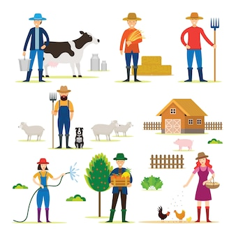 Rolnik, ogrodnik, postacie z zestawem produktów rolnych