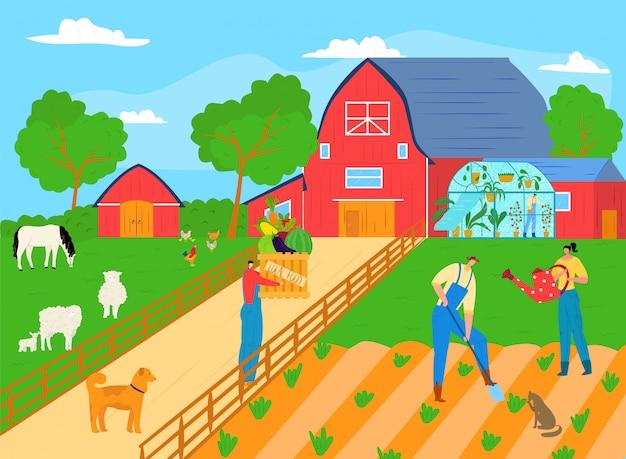 Rolnik osób pracuje w gospodarstwie rolnym roślin, mężczyzna kobieta postać rolnictwa ilustracja koncepcja ogrodnictwa. organiczne zbiory w ogrodzie, plantacja robotników. praca na wsi.