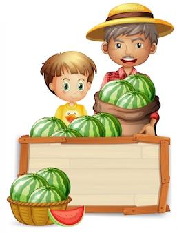 Rolnik posiadający arbuz na baner
