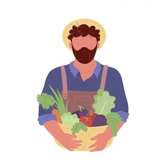 Rolnik posiadający kosz z warzywami