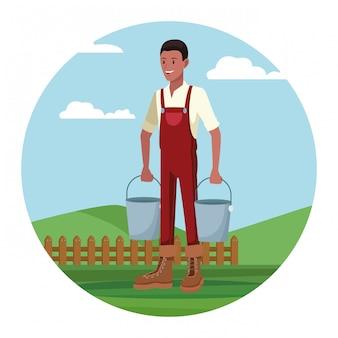 Rolnik pracujący w obozie kreskówki