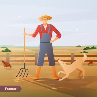 Rolnik przy płaskiej kompozycji padoku