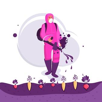 Rolnik rozpylania pestycydów na polu warzyw.