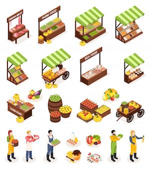 Rolnik rynku izometryczne ikony zestaw liczników pola beczki z świeże mięso, owoce, warzywa, nabiał i produkty morskie