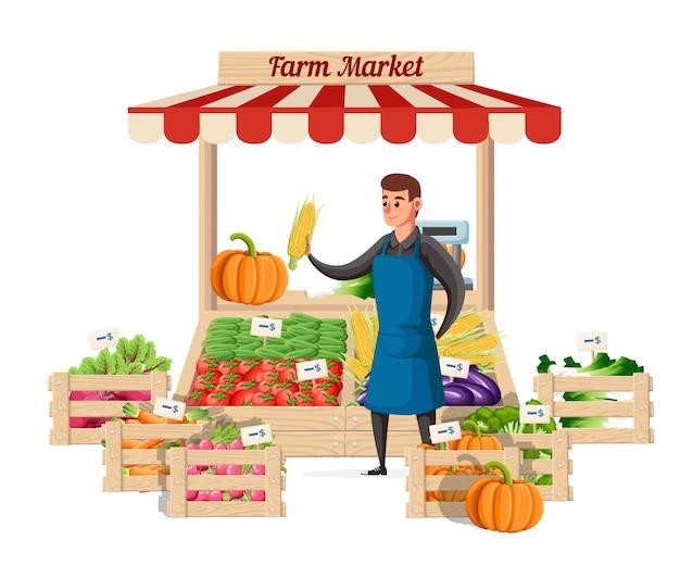 Rolnik sprzedawca warzyw w kasie farma żywności ekologicznej. sprzedawca uliczny ze straganem z warzywami. ilustracja na białym tle. strona internetowa i aplikacja mobilna