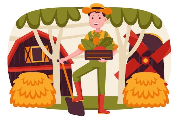 Rolnik szczęśliwy człowiek przynosi owoce w drewnianym koszu.