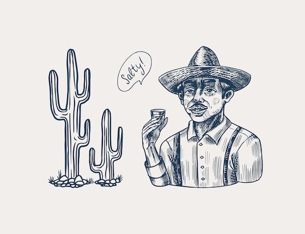 Rolnik trzyma kieliszek tequili. meksykanin z kapeluszem i kaktusem. retro plakat lub baner. grawerowane ręcznie rysowane szkic vintage. styl drzeworyt.