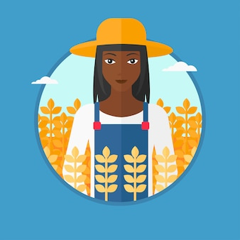 Rolnik w ilustracji wektorowych pola pszenicy.