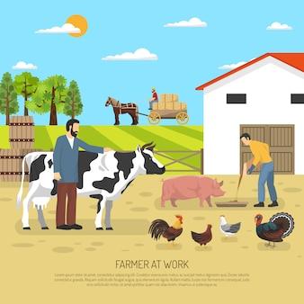 Rolnik w pracy tle