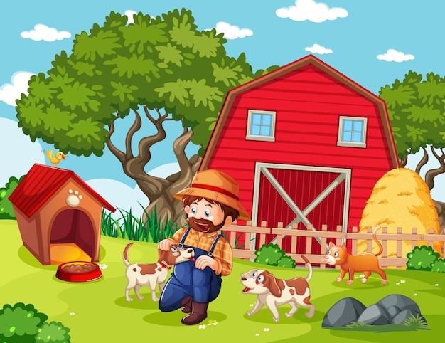 Rolnik z farmą zwierząt w scenie gospodarstwa w stylu cartoon