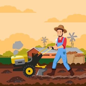Rolnik z ilustracji wektorowych maszyny tiller