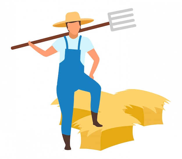 Rolnik z widłami płaski charakter. jesieni żniwa pojęcie na białym tle. robotnik rolny stojący z bele siana, stogi siana. prace rolnicze. siano zbiera odosobnioną kreskówki ilustrację