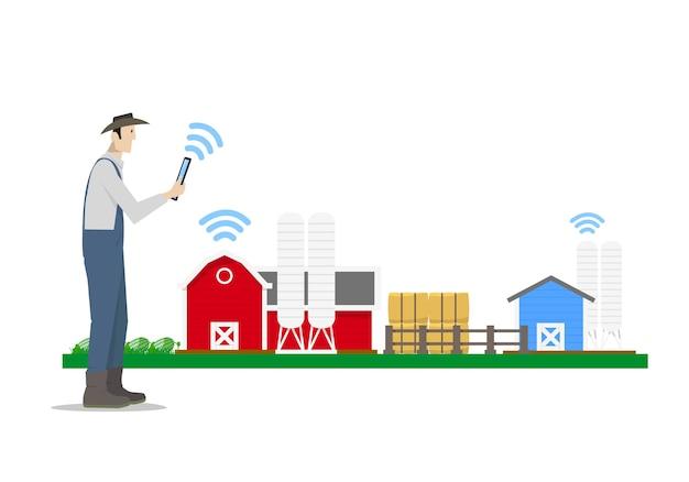 Rolnik za pomocą tabletu do sterowania inteligentną farmą