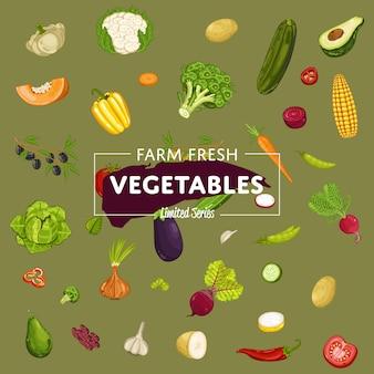 Rolny sztandar świeżych warzyw z produktem naturalnym