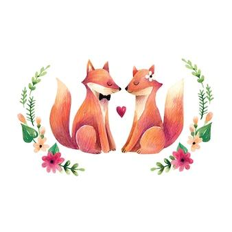Romantyczna akwarela ilustracja z słodkie lisy w kwiaty. para lisów w miłości na tle kwiatów.