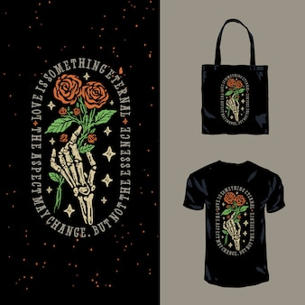 Romantyczna czaszka i róże ręcznie rysowane ilustracja